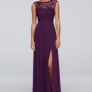 David's Bridal Plum Lace braidsmaid dress